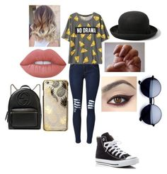 """Untitled #207"" by jacobsbae ❤ liked on Polyvore featuring Converse, Abercrombie & Fitch, Lime Crime, Skinnydip and Gucci"