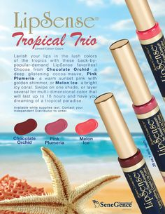 Gorgeous limited-edition LipSense colors- Chocolate Orchid, Pink Plumeria, and Melon Ice!