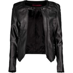 Boohoo Lara Leather Look Biker Jacket ($60) ❤ liked on Polyvore featuring outerwear, jackets, leather jackets, black, casacos, biker jacket, black duster coat, quilted jacket, bomber jacket and black motorcycle jacket