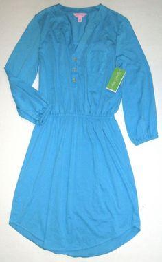 LILLY PULITZER Small Ariel Blue Beckett Peruvian Jersey Cotton Shirt Dress NWT S #LillyPulitzer #ShirtDress #Casual