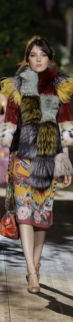 Dolce & Gabbana ~ Alta Moda Couture Color Block Fur Jacket Fall 2015
