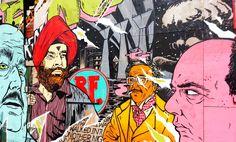 Large character based mural on shop hoarding - Hackney Road