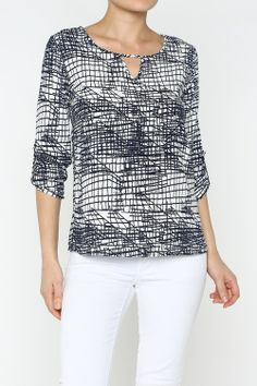 Scratch Print Blouse #wholesale #clothing #fashion #neutral #black #white #love #ootd #wiwt #shorts #skirts #dresses #tanks #tops #pants #jackets #outerwear #trousers #leggings #springequinox