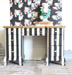 Black & White & Gold Painted Striped Desk - Painted Furniture Ideas - Desk - Stripes Refunk My Junk