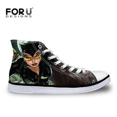 FORUDESIGNS Cool Women Shoes Designer High Top Catwomen Canvas Shoes for Ladies Classic Female Flat Walking Vulcanize Shoes