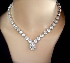 Bridal jewelry Swarovski crystal necklace by QueenMeJewelryLLC, $72.99