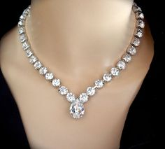 Bridal jewelry - Swarovski crystal necklace - Brides necklace - Clear sparkling crystals - Stunning - Statement necklace - SOPHIA