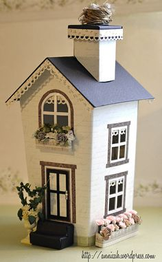 My new spring vacation cottage. Do as a halloween version, with a light inside? Putz Houses, Village Houses, Fairy Houses, Paper Doll House, Paper Houses, Cardboard Houses, Fairytale House, House Template, Spring Vacation