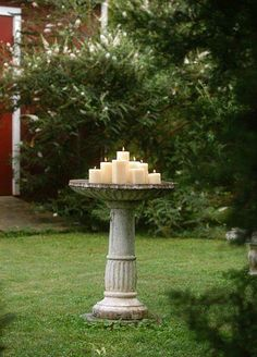 New uses for old bird baths... http://dishfunctionaldesigns.blogspot.com/2013/04/new-uses-for-old-birdbaths.html