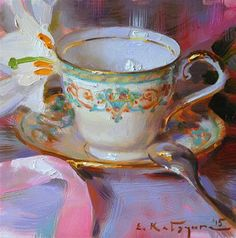 "Daily Paintworks - ""Teacup and White Lily"" - Original Fine Art for Sale - © Elena Katsyura"