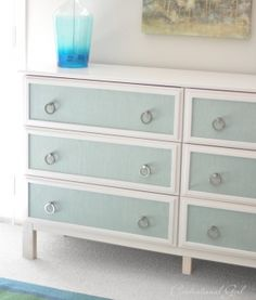 DIY Ikea Hack by Centsational Girl. Burlap Panels and Ring Pulls make this dresser so lovely!
