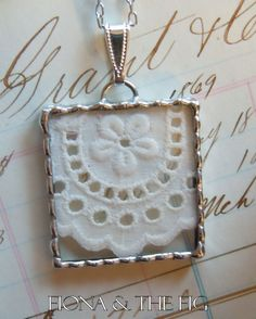 Fiona & The Fig SPECIAL 2 Charms Antique Lace Shadowbox Charm Soldered Necklace Pendant. $18.00, via Etsy.
