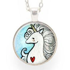 Unicorn Necklace On Blue – CellsDividing