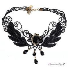 Gothic Barock Choker Collier  aus Spitze mit Perlen &...