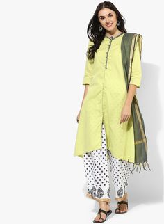 Buy Biba Lemon Printed Palazzo Kameez Dupatta online in India at best price.Contemporary style meets ethnic elegance in this lemon coloured suit set from BIBA, exquisitely pinstiched, Salwar Suits, Salwar Kameez, Indian Fashion, Women's Fashion, Designer Punjabi Suits, Lemon Print, Daily Wear, Palazzo, Earthy