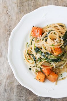 Spaghetti with Baby Kale and Roasted Butternut Squash.
