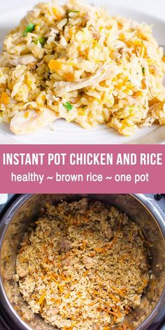 Instant Pot Chicken and Rice Recipe made healthy with fresh or frozen chicken breast or thighs and brown rice. Instant Pot Chicken and rice cooks in one pot of electric pressure cooker. Delicious, easy and low fat simple dinner for busy weeknights! Instant Pot Chicken And Rice Recipe, Frozen Chicken Recipes, Instant Pot Dinner Recipes, Chicken And Brown Rice, Instant Recipes, Recipes With Brown Rice, Low Fat Dinner Recipes, Healthy Rice Recipes, Simple Rice Recipes