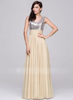 A-Line/Princess V-neck Floor-Length Chiffon Sequined Prom Dress With Ruffle (018064190) - JJsHouse