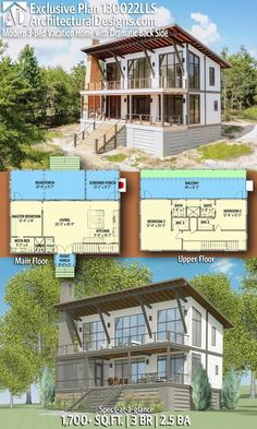 with 3 Bedrooms 2 full baths and 1 half bath in Sq Ft. with 3 Bedrooms 2 full baths and 1 half bath in Sq Ft. Cool house plan, not for us but love this Lake House Plans, Best House Plans, Cabin Plans, Modern House Plans, Small House Plans, Beach House Floor Plans, Contemporary House Plans, Plan Chalet, Casas Containers
