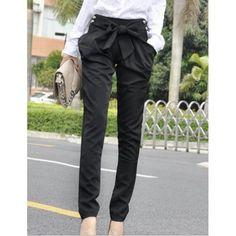 Sexy Women Fashion Harem Skinny Long Trousers OL Casual Slim Bow Pants, BLACK, L in Pants & Shorts   DressLily.com