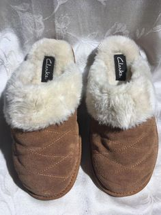 Teal With Faux Fur Lining Ladies Slippers By Avon Size 9-10 Bow Detail Choice Materials