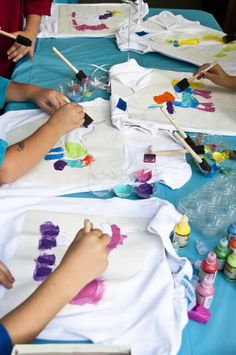 Girls Birthday Party: Shirt painting activity using freezer paper stenciling