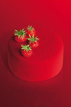make glaze like this Amazing food photo red cake strawberry