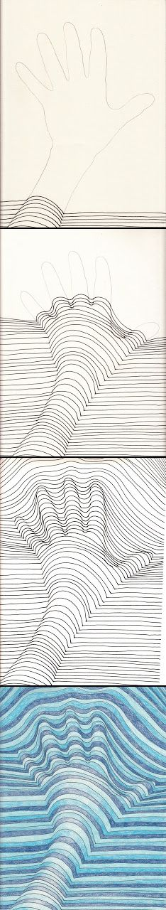 Make sure your curved lines line up with the straight line in the background.--Do not trace your outline with the black marker.--Place your lines close together. If there is too much space between your lines it will not look like the hand is popping off the page. - created via http://pinthemall.net