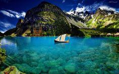 lago azul de cristal