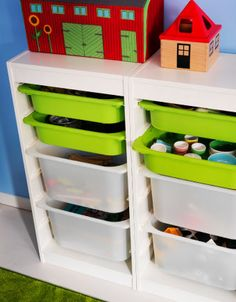 One way to make sharing a space (and designating clean up duties) easier is to use color coded  TROFAST storage bins.