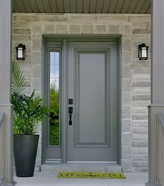 "Most recent Free of Charge Farmhouse Front Door sidelights Concepts Interior designers often refer to art as ""the jewelry of the house,"" but when it comes to enhanc Grey Front Doors, Front Door Entrance, Painted Front Doors, Front Door Colors, The Doors, Entry Doors, Front Entry, Exterior Doors With Sidelights, Front Door Design"