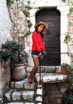 @roressclothes closet ideas #women fashion outfit #clothing style apparel denim shorts, red top