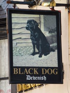 The Black Dog in Weymouth. Loved the sign. :)
