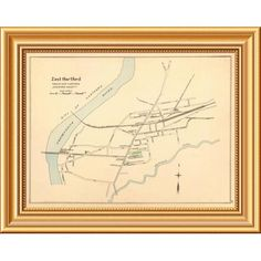 "East Urban Home 'East Hartford, Connecticut, 1893' Framed Graphic Art Print on Canvas Size: 30""H x 44""W x 1.5""D"
