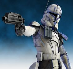 Captain CC-7567, AKA Rex, pointing one of his duel DC-17 blaster pistols at a target (19 BBY)