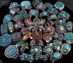A+ Native American Jewelry Lot Turquoise Sterling Silver Squash Blossom Bracelet