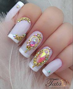 Gel Uv Nails, Gem Nails, Acrylic Nails, Manicure And Pedicure, Xmas Nail Art, Nail Art Diy, Pretty Nail Designs, Nail Art Designs, Nail Designs Bling
