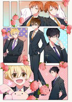 Ouran high school host club (The one in the middle is a girl) Colégio Ouran Host Club, Ouran Highschool Host Club, Host Club Anime, High School Host Club, Anime Couples Manga, Anime Guys, Manga Anime, Anime Art, Manga Girl