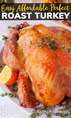 Learn how to roast a turkey perfectly every time. Get tender, juicy turkey with crispy skin, that's never dry or tough! Plus a free printable cheat sheet to help you with buying a turkey, defrosting a turkey, cooking a turkey, and serving a turkey. We even help you calculate leftovers! #thanksgiving #thanksgivingfood #thanksgivingrecipes #christmas #christmasfood #christmasrecipes #holidaymenu #holidaymeal #turkey #roastturkey #wholeturkey #turkeyrecipes