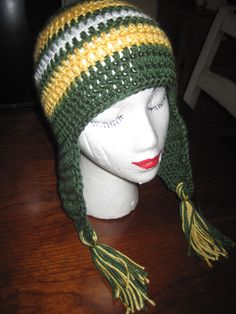 Another fan (female) of the Green Bay Packers wanted this hat with longer ear flaps and some tassles...:)