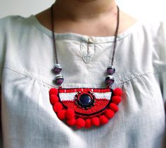 Long Necklaces – Red Ethnic Pompom Necklace – a unique product by Thezora on DaWanda