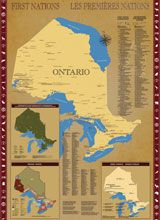 "Ontario First Nations map (Government of Ontario site): ""How to locate First Nation reserves, Tribal Councils, political organizations and land covered by treaties,"" presently.  Map can be ordered."