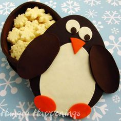 Hungry Happenings: Chocolate Penguin Box filled with White Chocolate Snowflakes