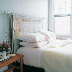 DIY sänggavel av tyg.
