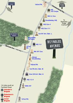 Map of the monuments and markers along South Reynolds Avenue on the Civil War battlefield at Gettysburg