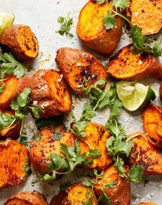Roasted Sweet Potatoes with Sriracha and Lime Recipe - PureWow Side Dishes For Fish, Healthy Side Dishes, Side Dishes Easy, Veggie Dishes, Veggie Meals, Sweet Potato Recipes Healthy, Healthy Recipes, Healthy Foods, Vegetarian Recipes
