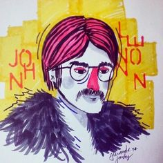 John Lennon by Alexandre Fontes #beatles #john #lennon #colors #warlus #london #band #sketch #drawing #painting #illustration
