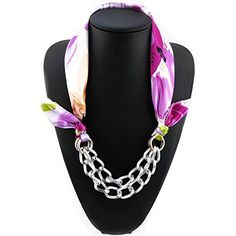 Ysiop Women Polyester Floral Scarf Necklace DIY Detachable Chain Kerchief D. ★PRODUCT SIZE:Length 60cm( 23.6 inch).Suitable for hand washing. The circle chain can be removed from the kerchief, perfect for matching clothes freely. ★PRODUCT PERFORMANCE: Fabrics soft, fine, feel is smooth and natural, warm and unique color, this scarf will be for fashionable women adds a beautiful appearance, temperament, intellectual, beautiful, celebrity style, joker style, has good decoration effect…