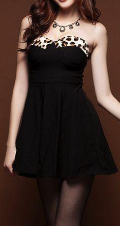Leopard Print Open Back Strapless Tube Top Mini Dress Latest Outfits, Hot Outfits, Latest Dress, Tube Dress, Dress Skirt, Skater Dress, Nice Dresses, Short Dresses, Cute Black Dress