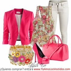 chaqueta fucsia floral